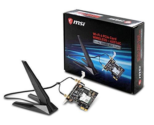 MSI Dual Band AX 200 WiFi 6 Bluetooth 5.0 Long Range Wireless MU-MIMO PCIe Network Adapter Card (AX916C)