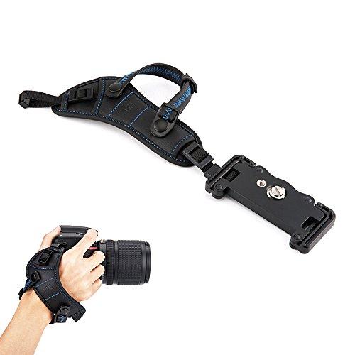 JJC Correa de mano con placa tipo U para cámara réflex digital Canon Nikon Olympus Sony Panasonic Pentax