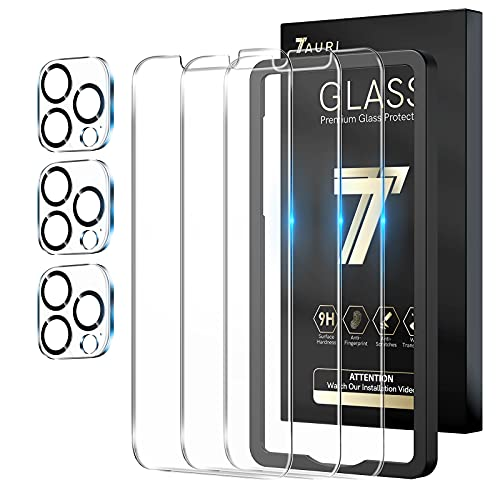 TAURI 3 + 3 Pack Compatible with iPhone 13 Pro 6.1 Inch, 3 Pack Tempered Glass Screen Protector, 3 Pack Camera Lens Protector, 9H Hardness Case Friendly Easy Installation Kit