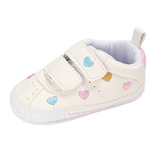 Matt Keely, sneaker primi passi in pelle poliuretanica per neonati, con suola morbida, Bianco (Cuore colorato.), 6-12 mesi
