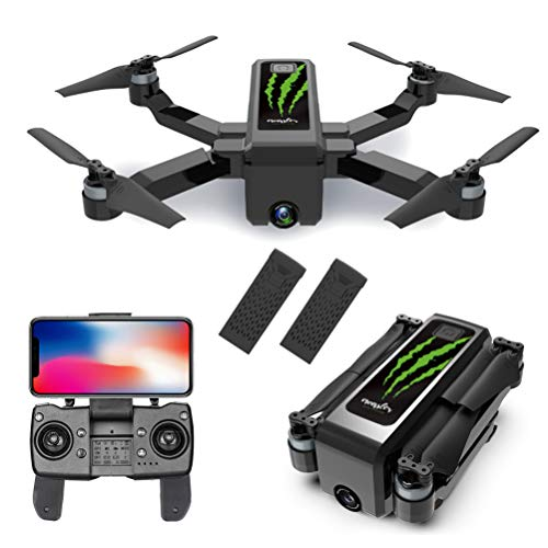 HGYYIO GPS Drones for Adults, Foldable RC Drone Quadcopter, 5G WiFi FPV Camera Drone HD 4K, Brushless Motor with LED Night Light, with 2 Modular Battery and Carrying Case