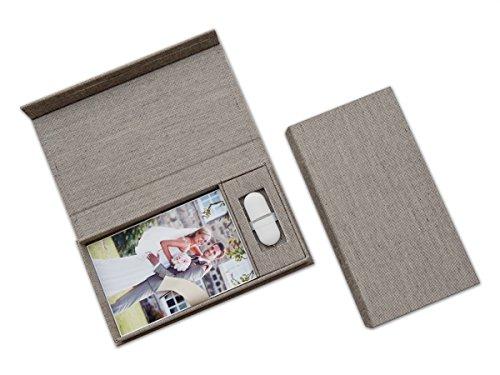 Bruiloft USB-opbergdoos met fotobox. Linnen stof grijs. Zonder USB-stick