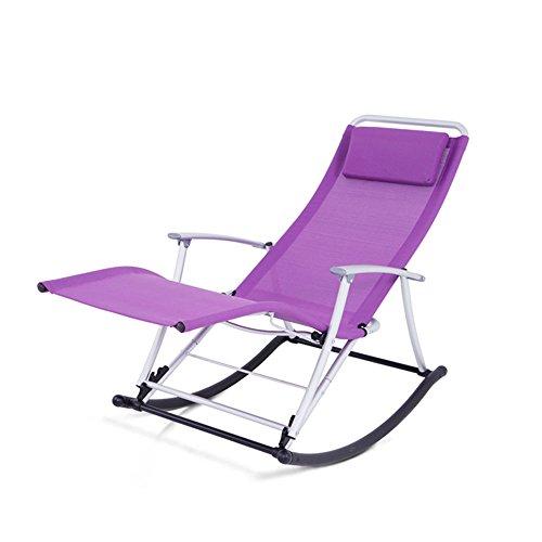 FEIFEI Fauteuils inclinables Rocking Chair Recliner Balcon Siesta Chaise Pliante Déjeuner Pause Loisirs Chaise Pliant (Couleur : Violet)