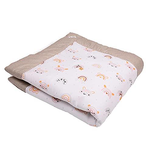 SWADDYL ® Baby Krabbeldecke - Kuscheldecke, Spieldecke, Laufgittereinlage 100x100 groß gepolstert (Regenbogen)