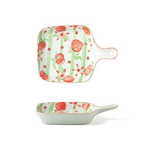 yaunli Bakeware 8,5 Zoll Underglaze Farbe Keramik-Platte mit Griff Platz Teller Startseite Frühstück Obstteller Ofen...