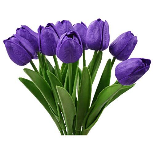 Tulipanes Artificiales,Flores de Seda, Ramos de Boda, Fiesta, Decoración del Hogar, 10 Piezas (Lila)