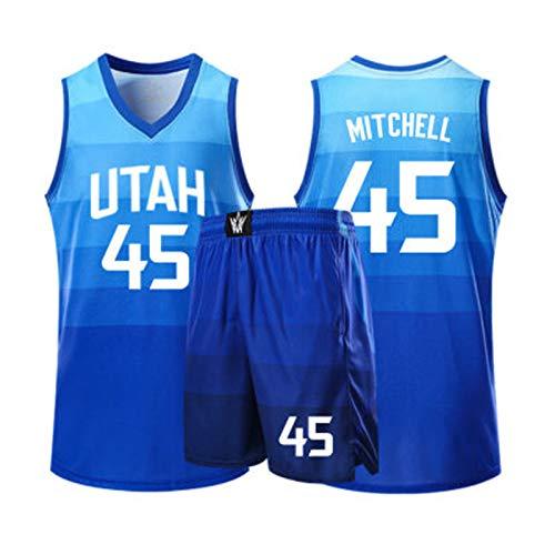 Baloncesto Jersey Jazz 45# Mitchell los Hombres de la Camiseta, la Camiseta sin Mangas Traje Unisex de la Camiseta de la Aptitud del Chaleco de los Cortocircuitos, Blue-XXL