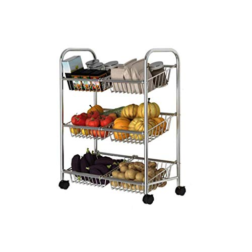 Tables roulantes-TR Trre@ 304 Cuisine en Acier Inoxydable avec des Roues, Support de Plancher Multifonctionnel d'étagère de Stockage Mobile de Fruit de Support de légume
