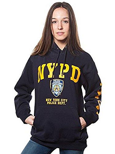 NYPD Kapuzenpullover für Erwachsene, Marineblau mit gelbem Brust- und Ärmelaufdruck, Damen, Navy, Small