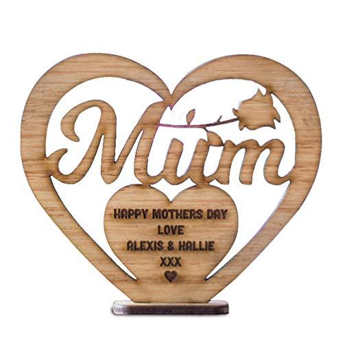 Groust 4 decoraciones de madera para el Día de la Madre con forma de corazón, decoración de mesa, manualidades, para el Día de la Madre
