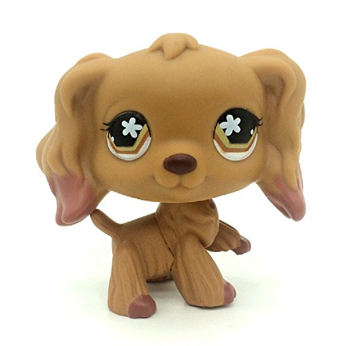 ZAD Rare Brown Cocker Spaniel Dog Flower Eyes Animal LPSs #716