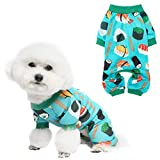 PUPTECK Soft Dog Pajamas, Stretchable Pjs Dog Jumpsuit Dog Clothes Dog Apparel with Sushi/Donut Pattern, for Small Medium Large Dog