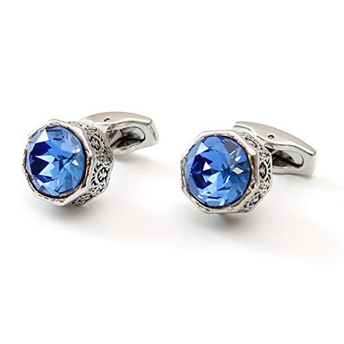 SCVBH Neue Luxus Hochzeit Manschettenknöpfe Herren Schmuck Geschenke Retro Achteckig Blau Grün Kristall Business Manschettenknöpfe Blue