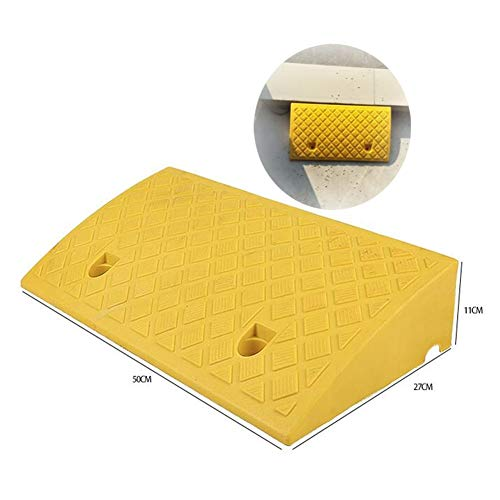 Baiying Rubber Kerb Ramps Threshold Sidewalk Wheelchair Portable Heavy Ramp Non-Slip Buttonhole Design PVC, 6 Sizes (Color : Yellow, Size : 50X27X11CM)