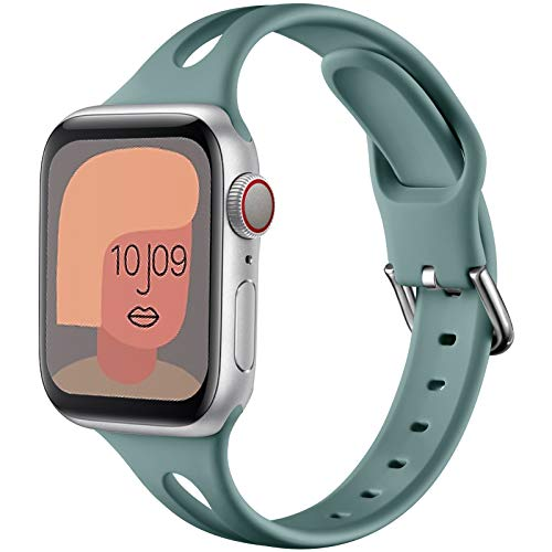 youmaofa Cinturino Compatibile con Apple Watch 38mm 40mm, Morbido Silicone Sport Speciale Triangle Hole Donne Uomo Sottile Ricambio Cinturino per Apple Watch Series SE/6/5/4/3/2/1, Verde Pino