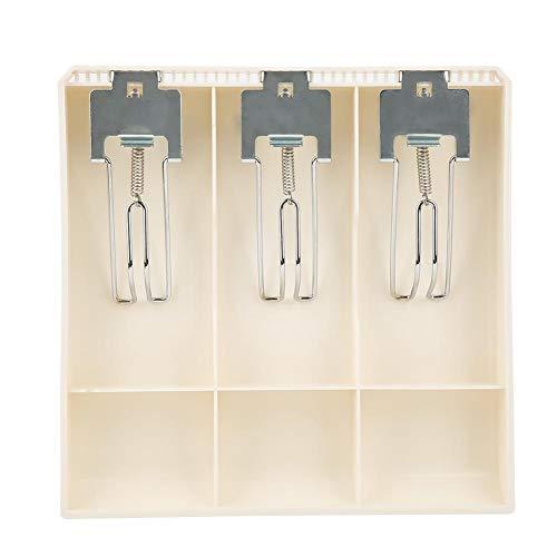 Cómoda bandeja de inserción de caja registradora de tres cajas, organizador de inserción de efectivo clasificado duradero, cajón de caja registradora, resina para tienda hotel(white)