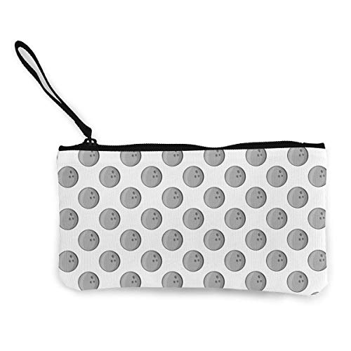 TTmom Damen Leinwand Geldbörse Portemonnaie Geldbeutel, Women's Retro Purse, Bowling Balls Pattern Canvas Cosmetics Bag with Zipper for Women