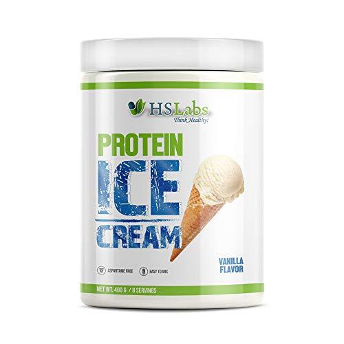HSLabs Molkepulver PROTEIN ICE CREAM Protein Mix Konzentrat Molkenproteinpulver Eiweißpulver Low Carb Low Fat Wenig Zucker Schoko Vanille 8 Portionen (Vanilla 400g)