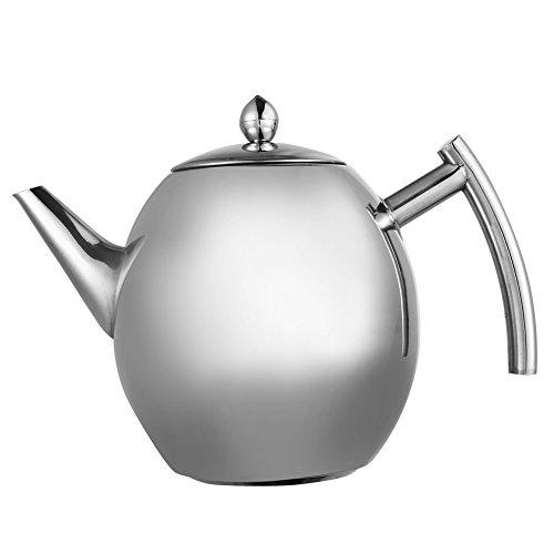Teekanne Edelstahl, Teapot Mit Filter Aus Poliertem, Wasser Kochen Café Tee Kanne Für Zuhause, Hotel, Restaurant ( Edelstahl )