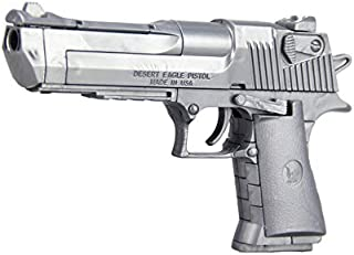 ألعاب نماذج مسدسات مجمعة بتصميم نسور الصحراء لون فضي مع كاتم صوت، 43 قطعة