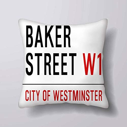 Promini Vintage London Street Sign Baker Street Sherlock Holmes Square Decorative Throw Pillow Cover Case Cushion for Sofa Couch Car Decor, 16x16 inches