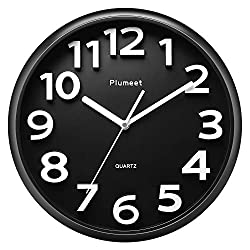 Plumeet Large Wall Clocks - 13 Silent Non-Ticking Quartz Decorative Clock - Modern Style Suitable for Home Kitchen Bedroom - Battery Operated (Black)