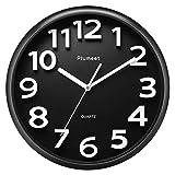 Plumeet Reloj de Pared Grande de 33 cm, Relojes Decorativos de Cuarzo silencioso Que no Hace tictac, Gran Pantalla de números tridimensionales, con Pilas (Negro)