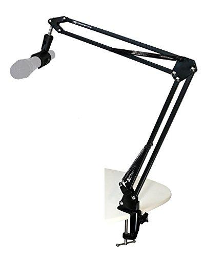 TIE Studio Professioneller Mikrofon Arm Ständer inkl. Halter auf Schreibtisch für Studio/Programm-Aufnahme/Rundfunk/Fernsehsender 19-90007 schwarz