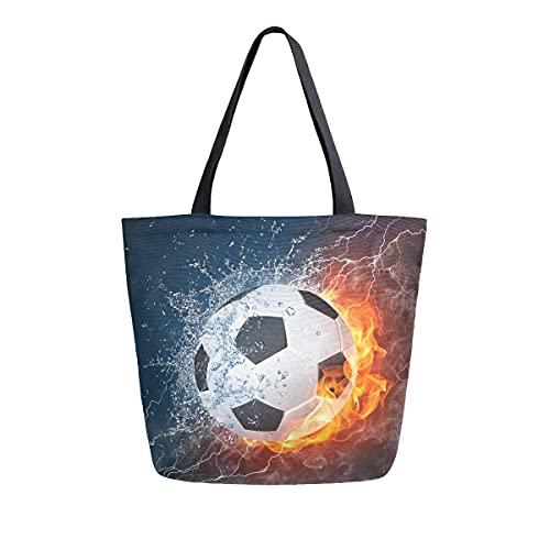 F17 - Bolsas de lona para fútbol, deporte, hombro, informal, reutilizable, para mujeres, hombres, trabajo, viajes, compras, bolso