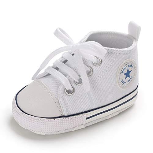 Zapatos para bebé Auxma La Zapatilla de Deporte Antideslizante del Zapato de Lona de la Zapatilla de Deporte para 3-6 6-12 12-18 M (3-6 M, Azul)