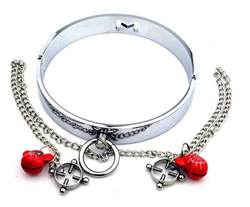 NoLZQ Chest Clip Stainless Steel Dog Collar Leash Necklace Punk Rock Gothic Choker Women Chain Neckband Waist Belt Metal Rope Harness Body Cage b.d.š-ṃ bô.ňd.áģê lí-ńģêriê hán-dćῡffs ŕešt-rain-t