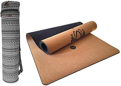 Juego de bolsa de yoga Premium Eco – corcho natural – 5 mm – antideslizante – sin sustancias nocivas – Esterilla de gimnasia deportiva (Dharma)