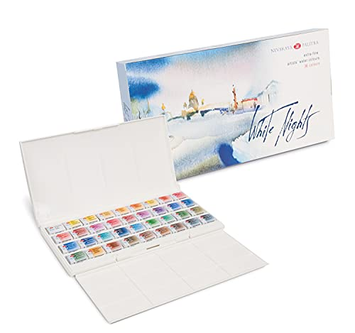 White Nights Watercolour Set de Pintura de Acuarela Sólida, 36 Colores, Blanco