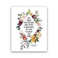 セントキャサリンシエナ引用アートプリント水彩花の絵画神の言うキャンバスポスター壁アート写真リビングルームの装飾40x60cmフレームなし