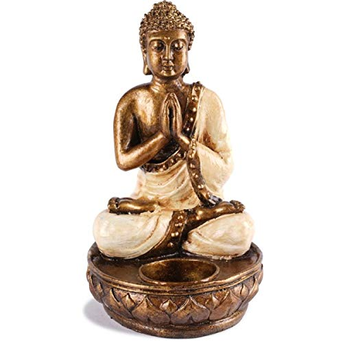 KOH DECO Bougeoir Bouddha en résine - Blanc