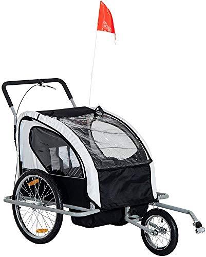 Cinturón Pivot Rueda 2 en 1 Plegable 2 personas Niños Cochecito de jogging y remolque de bicicleta,Black White