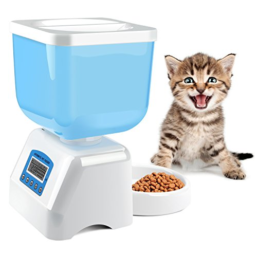 Automatic Pet Feeder, MOSPRO Intelligent Voice Recorder Timer Programmable Food Dispenser Safe Food Feeder with LCD Display and 4.5L Large Capacity