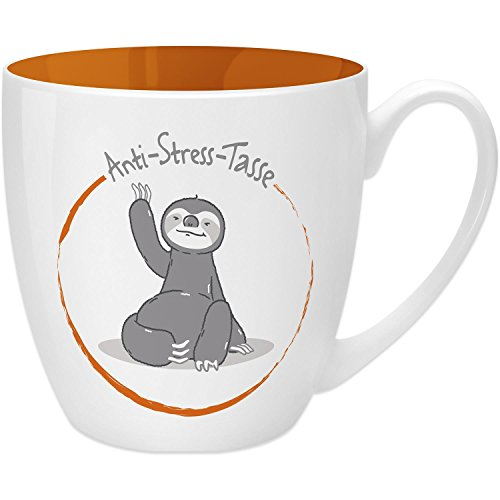 Gruss & Co 45514 Anti-Stress-Anti-Stress Tasse Faultier, 45 cl, Geschenk, New Bone China, Orange, 9.5 cm