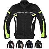 ALPHA CYCLE GEAR BREATHABLE BIKERS RIDING PROTECTION MOTORCYCLE JACKET MESH CE ARMORED (GREEN LANE, X-LARGE)