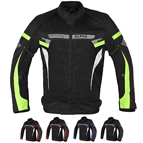 ALPHA CYCLE GEAR BREATHABLE BIKERS RIDING PROTECTION MOTORCYCLE JACKET MESH CE ARMORED (GREEN LANE, LARGE)