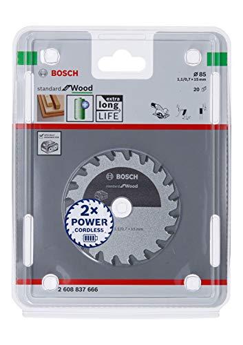 Bosch Professional Kreissägeblatt Standard for Wood (Holz, 85 x 15 x 1,1 mm, 20 Zähne, Zubehör Akku Kreissäge)