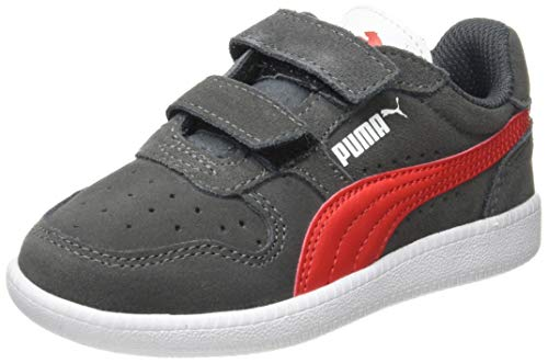 Puma Unisex Kinder Icra Trainer Sd V Ps Sneaker, Grau (Castlerock-High Risk Red White), 32 EU