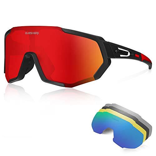 Queshark Sportbrillen Fahrrad Brillen Damen Herren Polarisierte UV400 Schutz mit 5 Wechselgläser Radbrillen für Outdoor-Sport Radfahren Motorradfahren Laufen Angeln Golf CE-Zertifizierungen