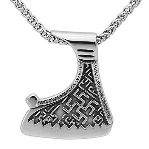 Collar con Colgante Símbolo Nudo Celta con Doble Hacha Vikinga, Amuleto Nórdico Talismán Acero Inoxidable para Hombres, 60 Cm