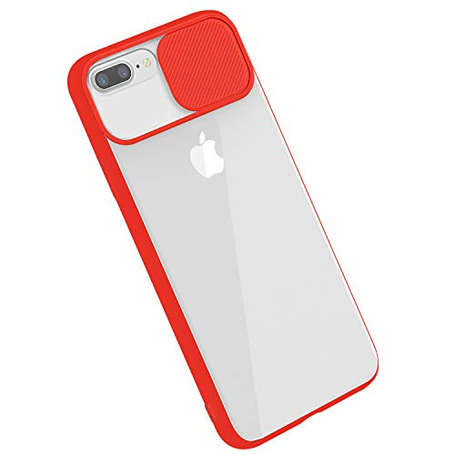 Rdyi6ba8 - Carcasa para iPhone 8 Plus, funda para iPhone 7 Plus, funda CamShield [protección de la cámara] protectora transparente fina antigolpes Hard PC Case para iPhone 7 Plus/8 Plus – Rojo