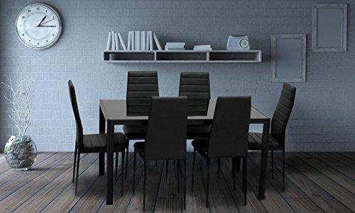 IDS Online MLM-17429-6-BK-foot pad Modern Glass Dining Table Set, Black
