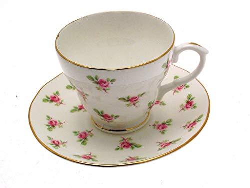 Duchess Rose Bud - Taza de té y platillo, diseño floral