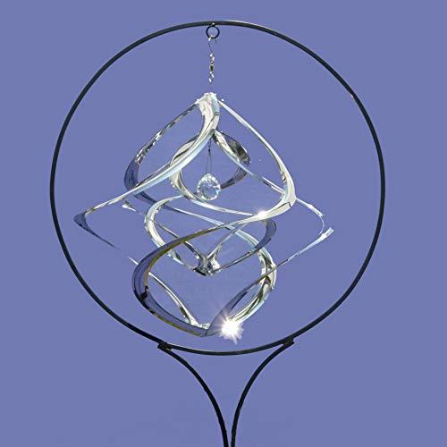 Pommerntraum ® | XXL Edelstahlwindspiel MIT STÄNDER + 4 cm KRISTALL | Windspiel Edelstahl | Winddancer | Double-Twister | Gartenstecker | Gartenkunst | - 50 cm XXL