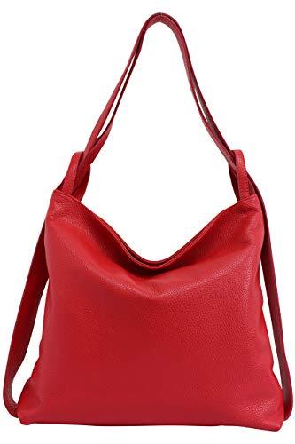 AmbraModa Italienische Ledertasche, 2 in 1 Damenrucksack Daypack Schultertasche Damen Handtasche Beutel GL019 (Rot)