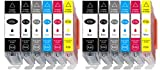 12er Pack mit Grau ersatz für Canon 570 pgbk 571 Druckerpatronen PGI-570XL CLI-571XL Hohe Kapazität für Canon Pixma MG7750 MG7751 MG7752 MG7753 TS8050 TS8051 TS8052 TS8053 TS9050 TS9055